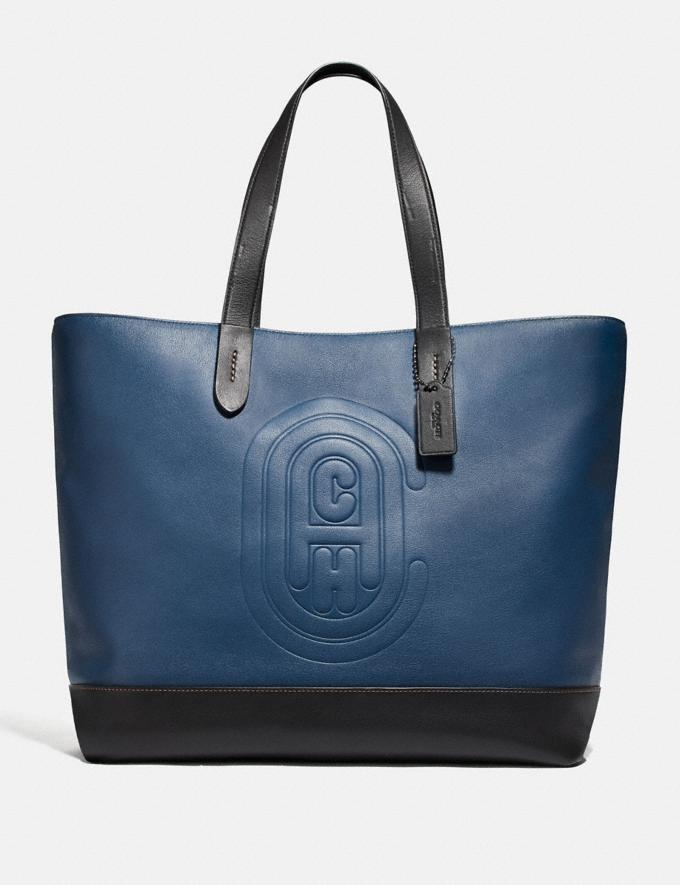Coach Academy Tote With Coach Patch True Blue/Black Copper Women Handbags Totes