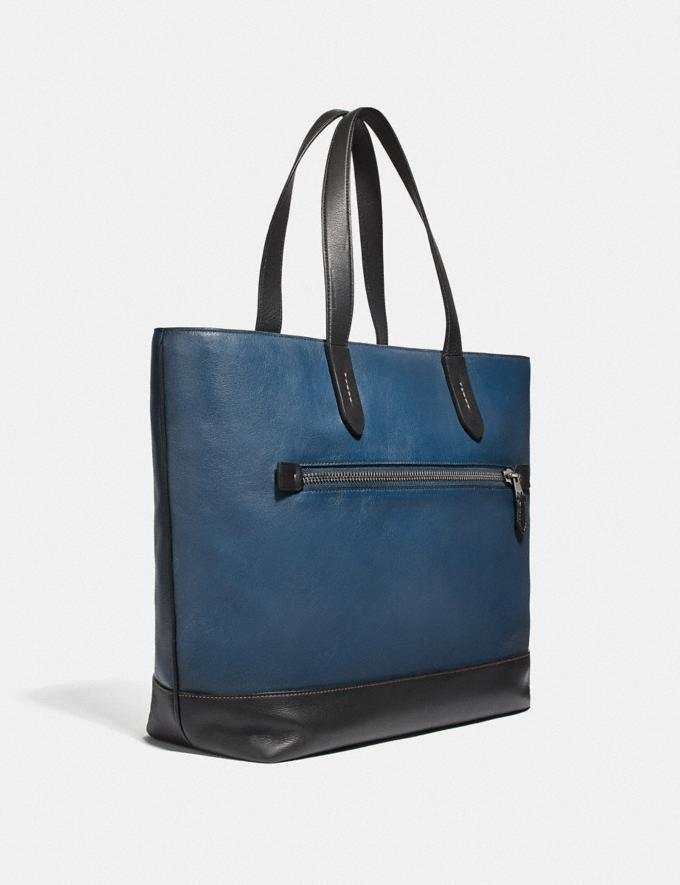 Coach Academy Tote With Coach Patch True Blue/Black Copper Women Handbags Totes Alternate View 1