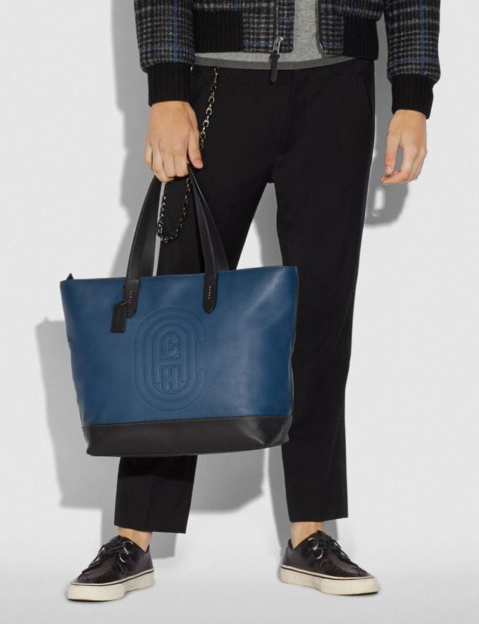 Coach Academy Tote With Coach Patch True Blue/Black Copper Women Handbags Totes Alternate View 3