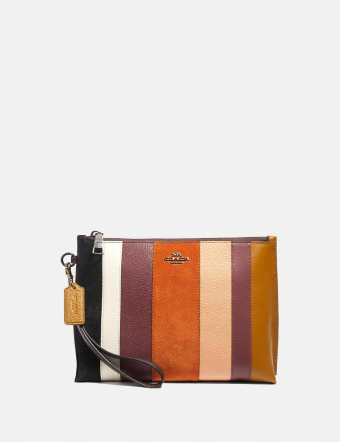 Coach Charlie Pouch With Patchwork Stripes Beechwood Multi/Pewter Women Collection Charlie