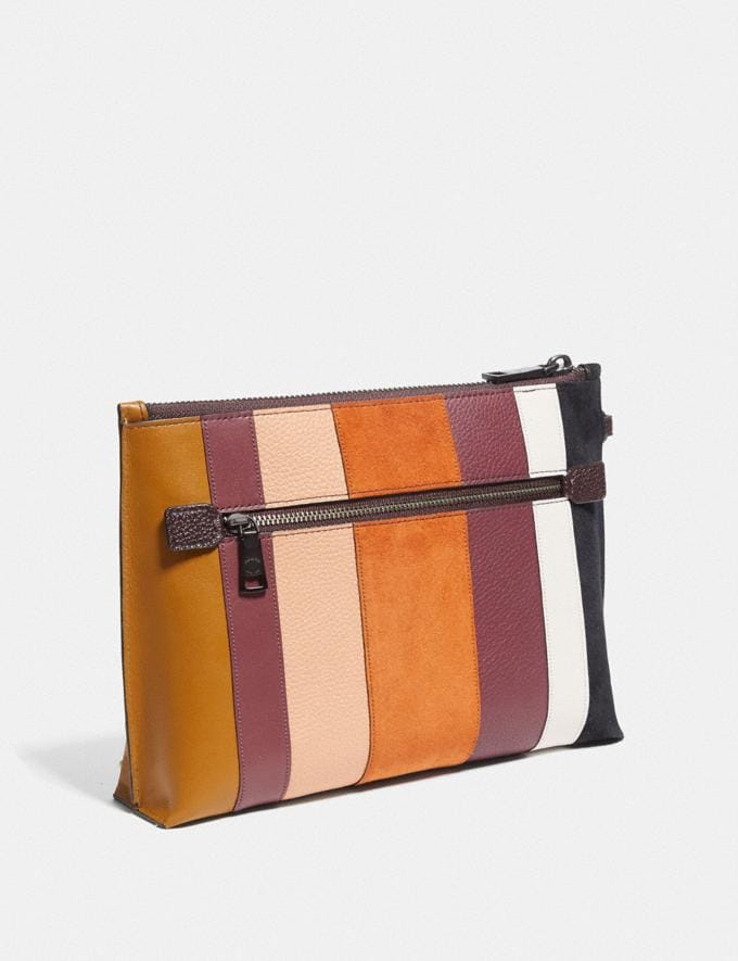 Coach Charlie Pouch With Patchwork Stripes Beechwood Multi/Pewter Women Bags Clutches Alternate View 1