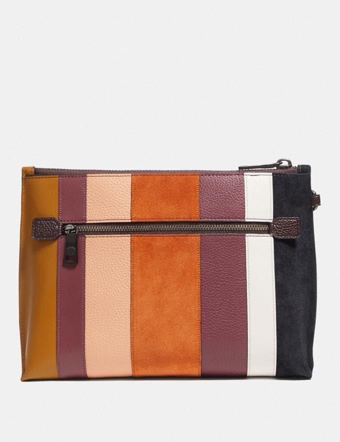 Coach Charlie Pouch With Patchwork Stripes Beechwood Multi/Pewter Women Collection Charlie Alternate View 2
