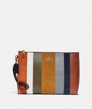 LARGE CHARLIE POUCH WITH PATCHWORK STRIPES