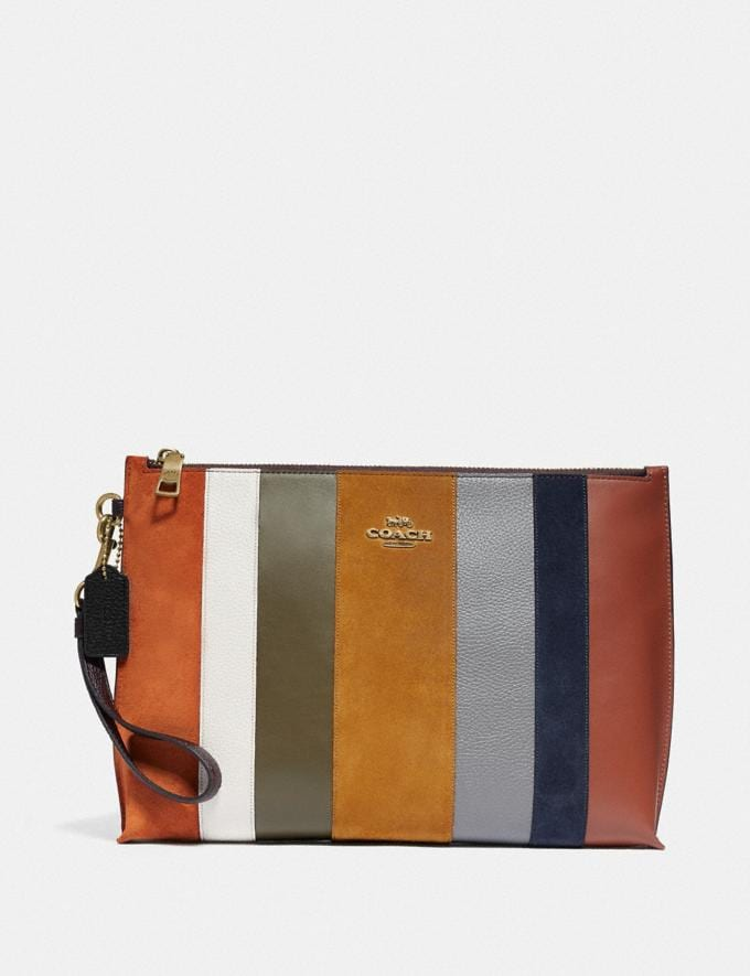 Coach Large Charlie Pouch With Patchwork Stripes Oxblood Multi/Brass New Women's New Arrivals Accessories