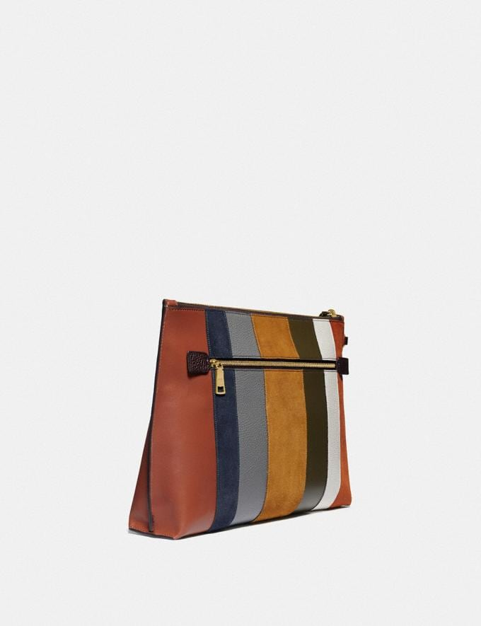Coach Large Charlie Pouch With Patchwork Stripes Oxblood Multi/Brass New Women's New Arrivals Accessories Alternate View 1
