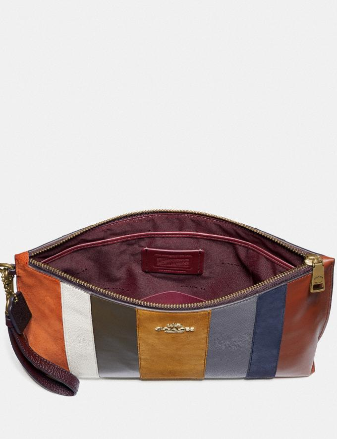 Coach Large Charlie Pouch With Patchwork Stripes Oxblood Multi/Brass Women Accessories Alternate View 3