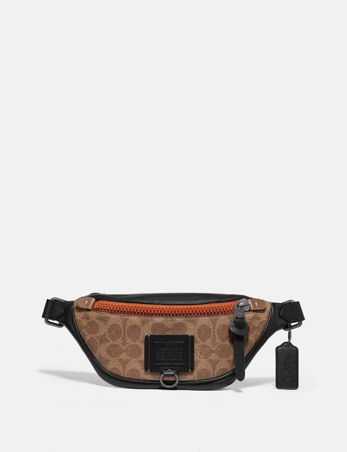 Coach Rivington Belt Bag 7 in Signature Canvas Khaki/Black Copper New Men's New Arrivals Bags