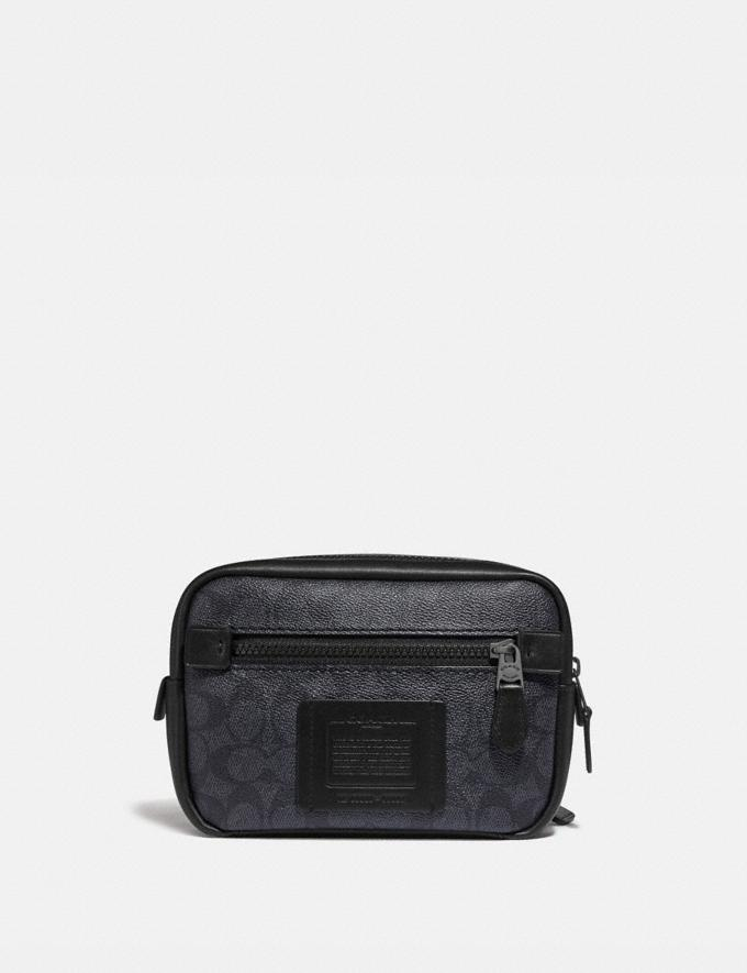 Coach Academy L-Pack in Signature Canvas Charcoal/Black Antique Nickel New Men's New Arrivals