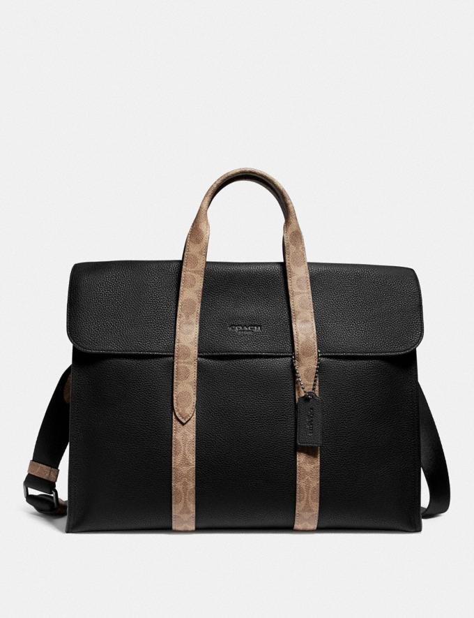 Coach Metropolitan Portfolio With Signature Canvas Blocking Black/Khaki/Black Copper Men Edits Work
