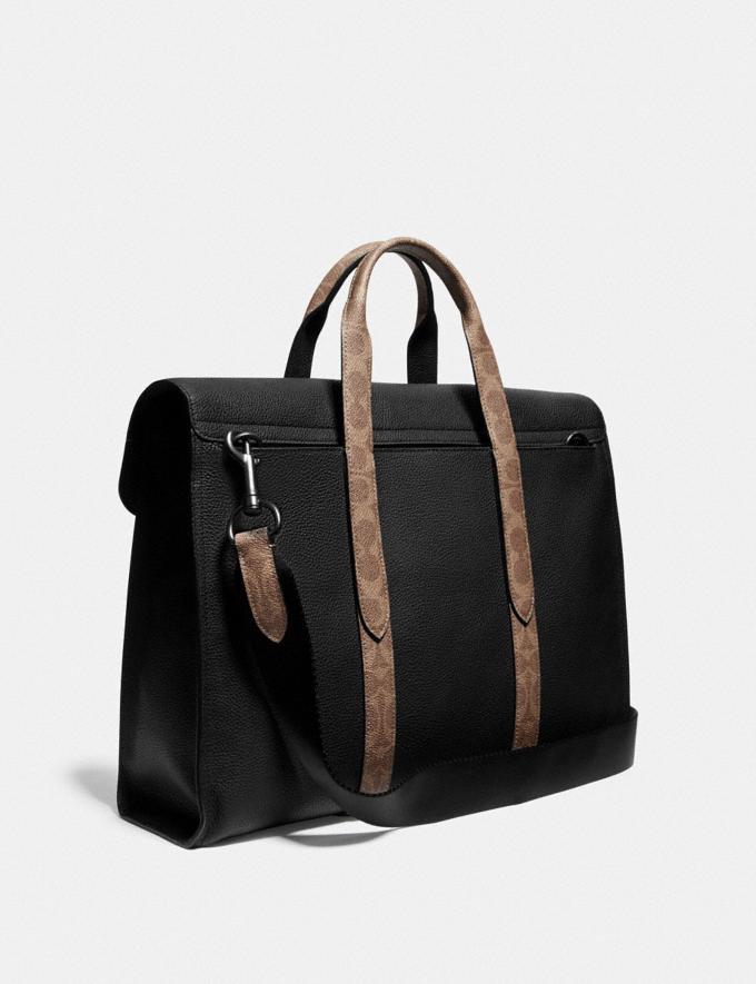 Coach Metropolitan Portfolio With Signature Canvas Blocking Black/Khaki/Black Copper Men Edits Work Alternate View 1