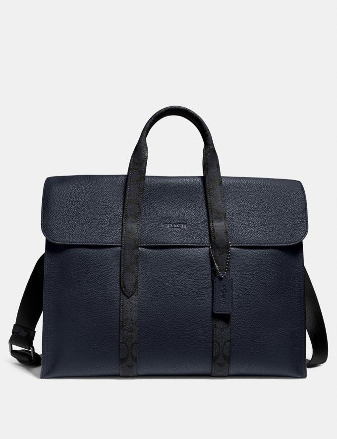 Coach Metropolitan Portfolio With Signature Canvas Blocking Midnight Navy/Charcoal/Black Copper Men Bags Briefcases
