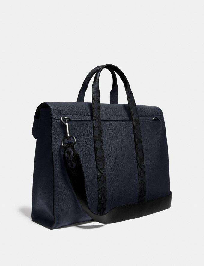 Coach Metropolitan Portfolio With Signature Canvas Blocking Midnight Navy/Charcoal/Black Copper Men Bags Briefcases Alternate View 1