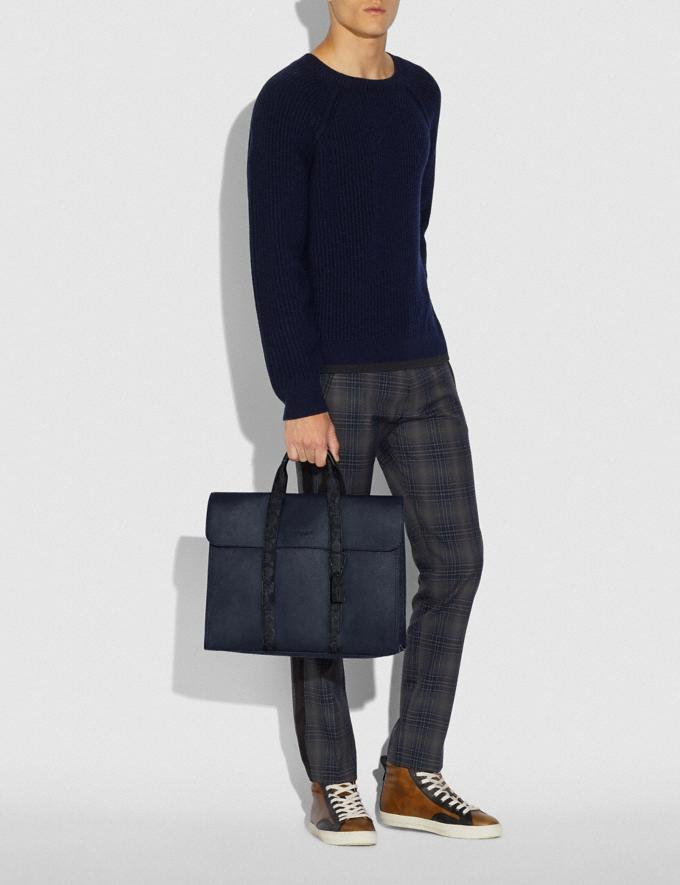 Coach Metropolitan Portfolio With Signature Canvas Blocking Midnight Navy/Charcoal/Black Copper Men Bags Briefcases Alternate View 3