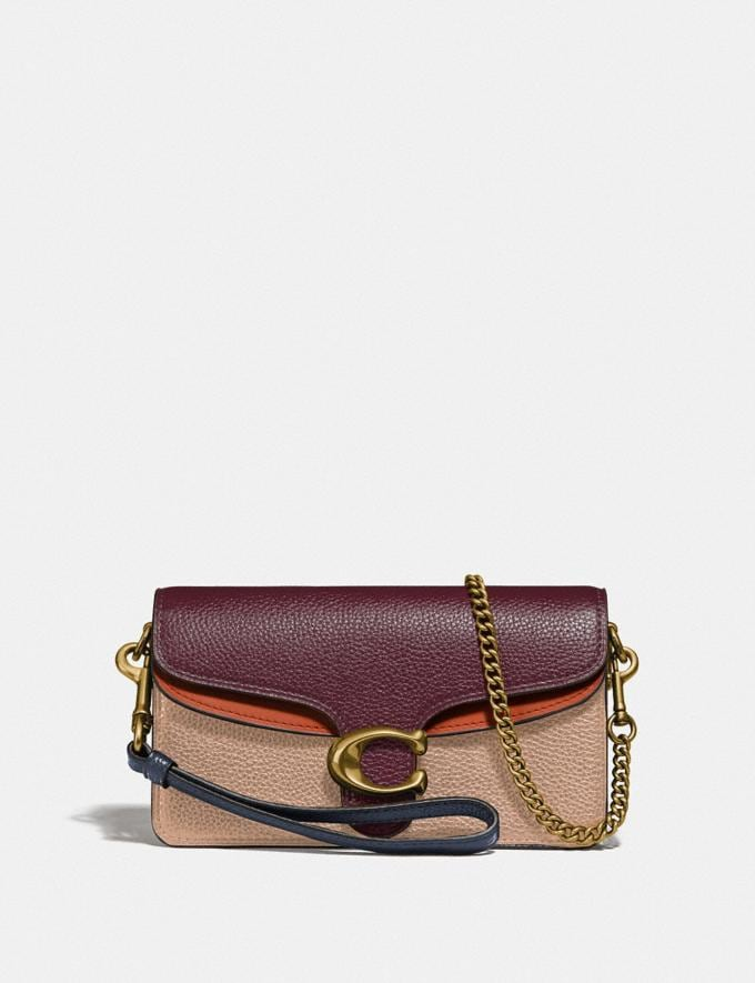 Coach Tabby Crossbody in Colorblock Vintage Mauve Multi/Brass Women Small Leather Goods Wristlets