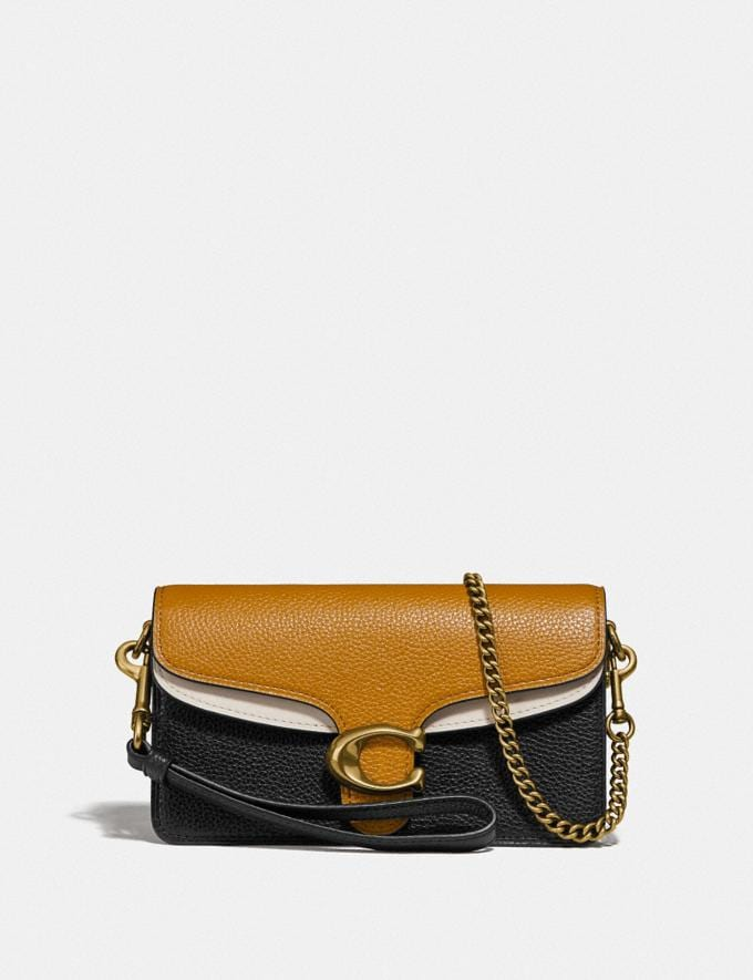 Coach Tabby Crossbody in Colorblock Straw Multi/Brass Women Small Leather Goods Crossbody Wallets