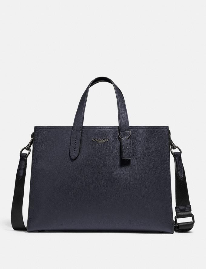 Coach Charlie Brief With Signature Canvas Blocking Midnight Navy/Charcoal/Black Copper New Men's New Arrivals