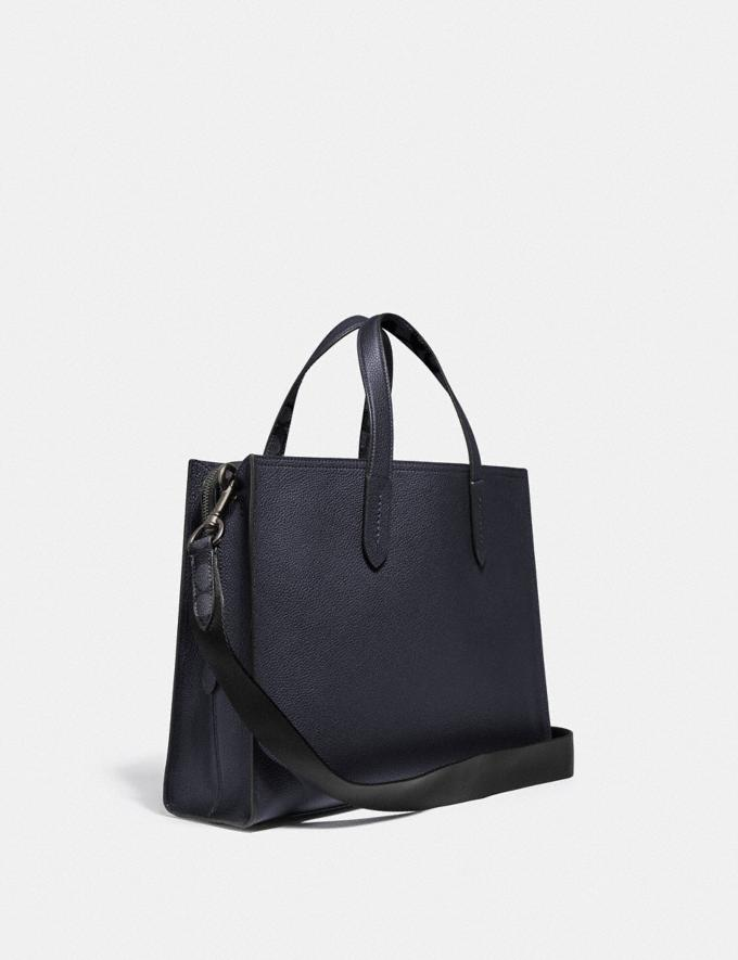 Coach Charlie Brief With Signature Canvas Blocking Midnight Navy/Charcoal/Black Copper Men Bags Briefcases Alternate View 1