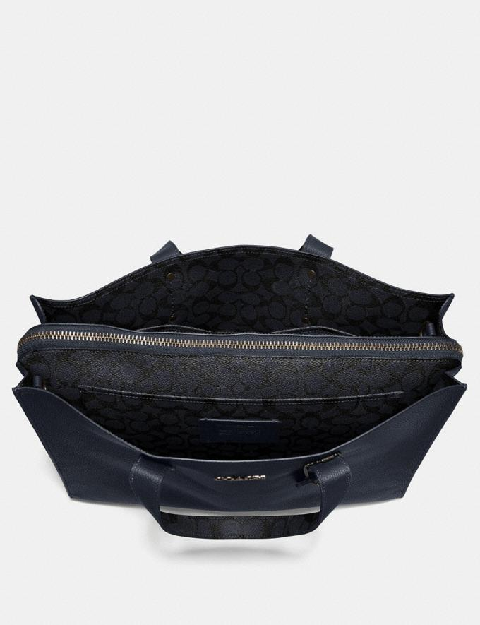 Coach Charlie Brief With Signature Canvas Blocking Midnight Navy/Charcoal/Black Copper Men Bags Briefcases Alternate View 2