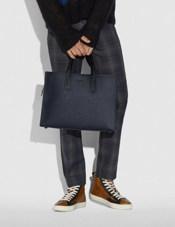Coach Charlie Brief With Signature Canvas Blocking Midnight Navy/Charcoal/Black Copper Men Bags Briefcases Alternate View 3