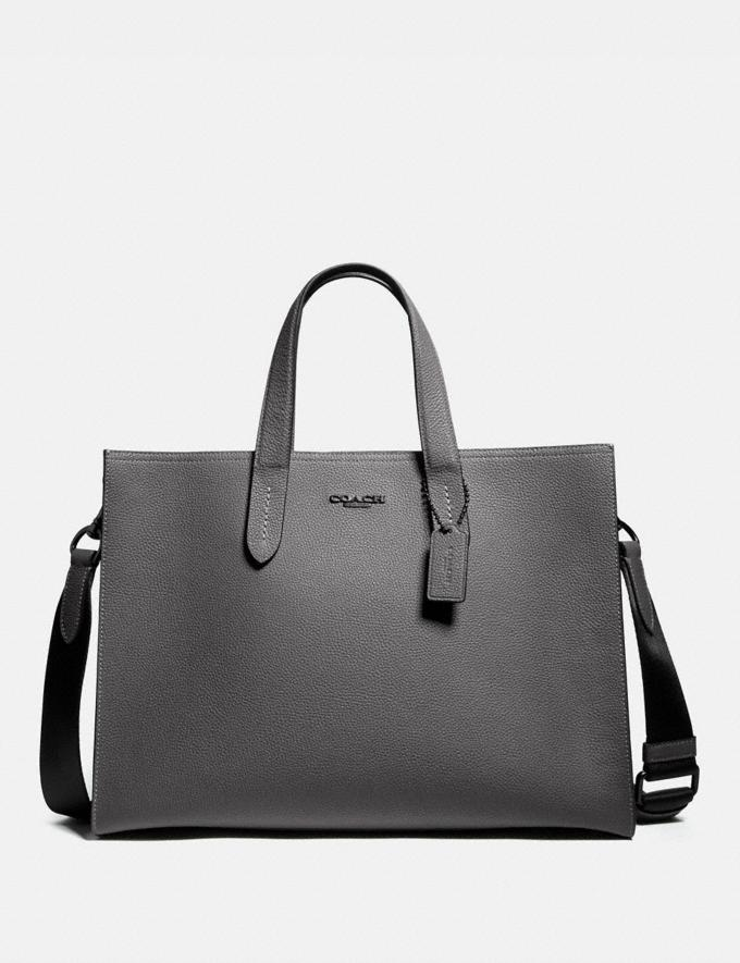 Coach Charlie Brief Grey/Black Copper Men Bags Briefcases