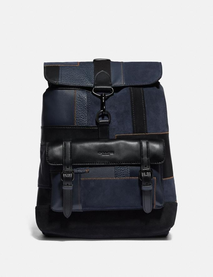 Coach Bleecker Backpack With Patchwork Black/Black Copper Men Bags Backpacks
