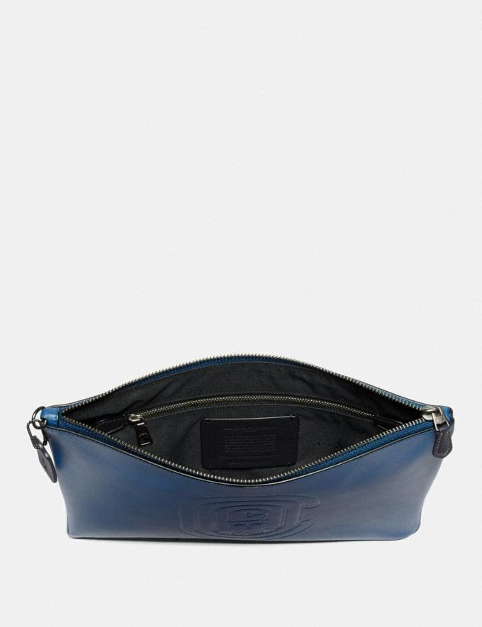 Coach Pouch 30 With Coach Patch True Blue New Men's New Arrivals Accessories Alternate View 1