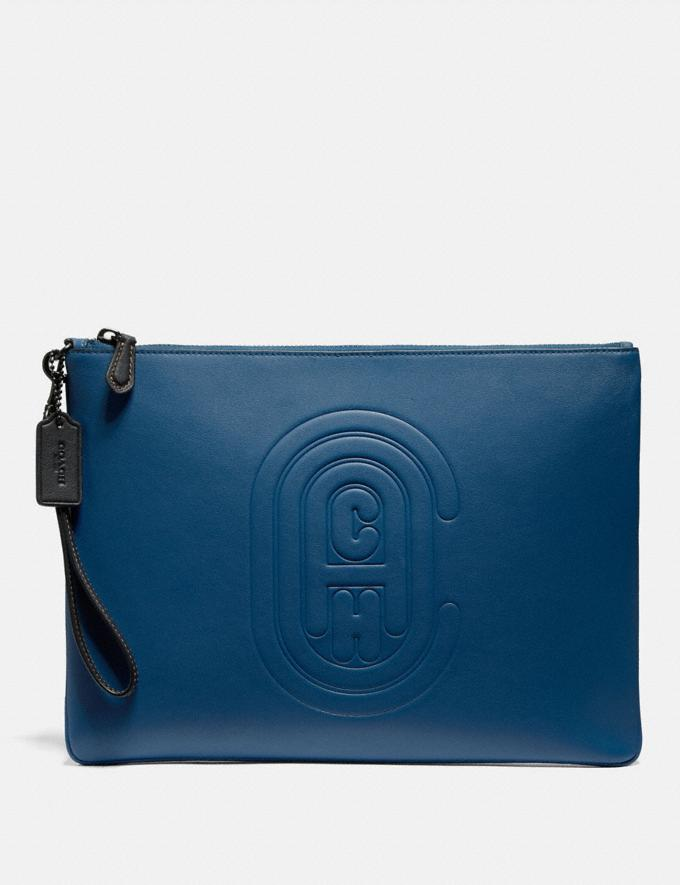 Coach Pouch 30 With Coach Patch True Blue New Men's New Arrivals Accessories