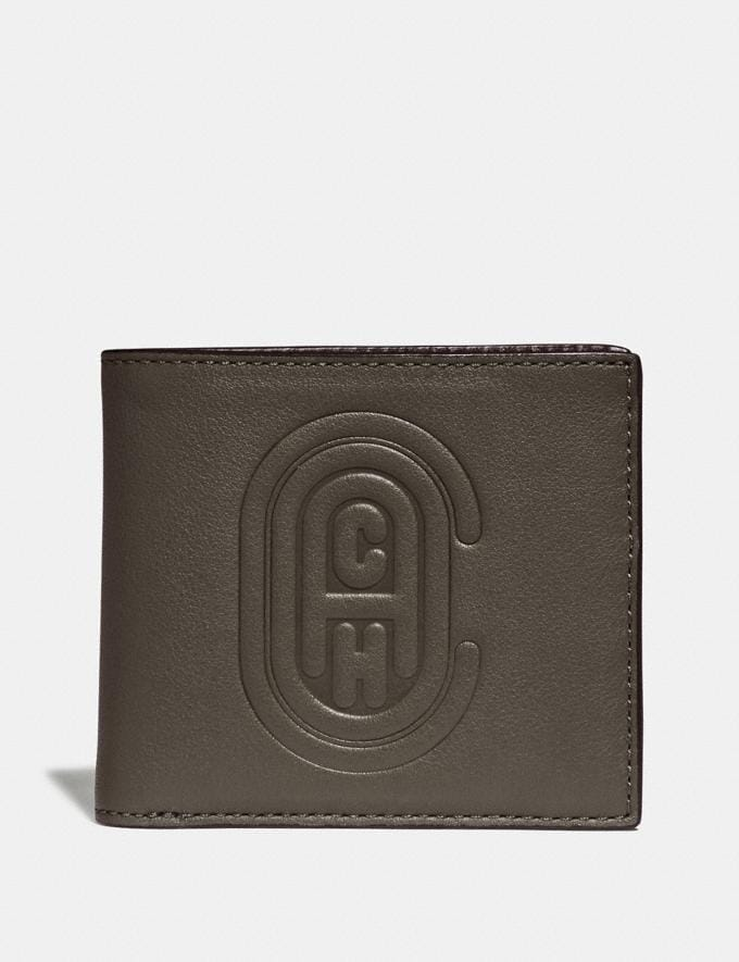 Coach Double Billfold Wallet With Coach Patch Moss New Men's New Arrivals Wallets