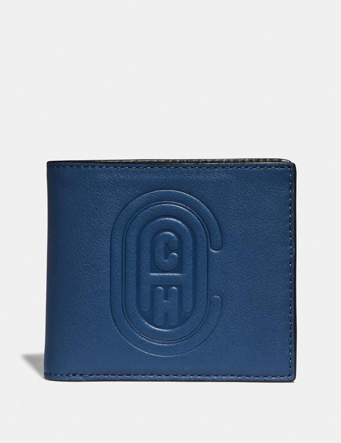 Coach Double Billfold Wallet With Coach Patch True Blue Men Wallets Billfolds