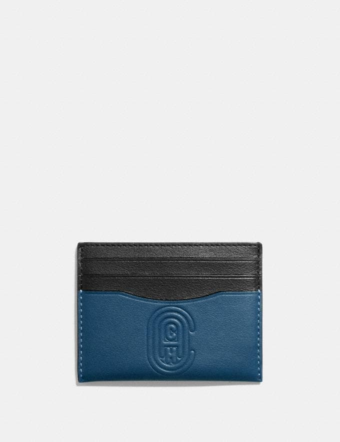 Coach Card Case With Coach Patch True Blue Men Wallets Card Cases