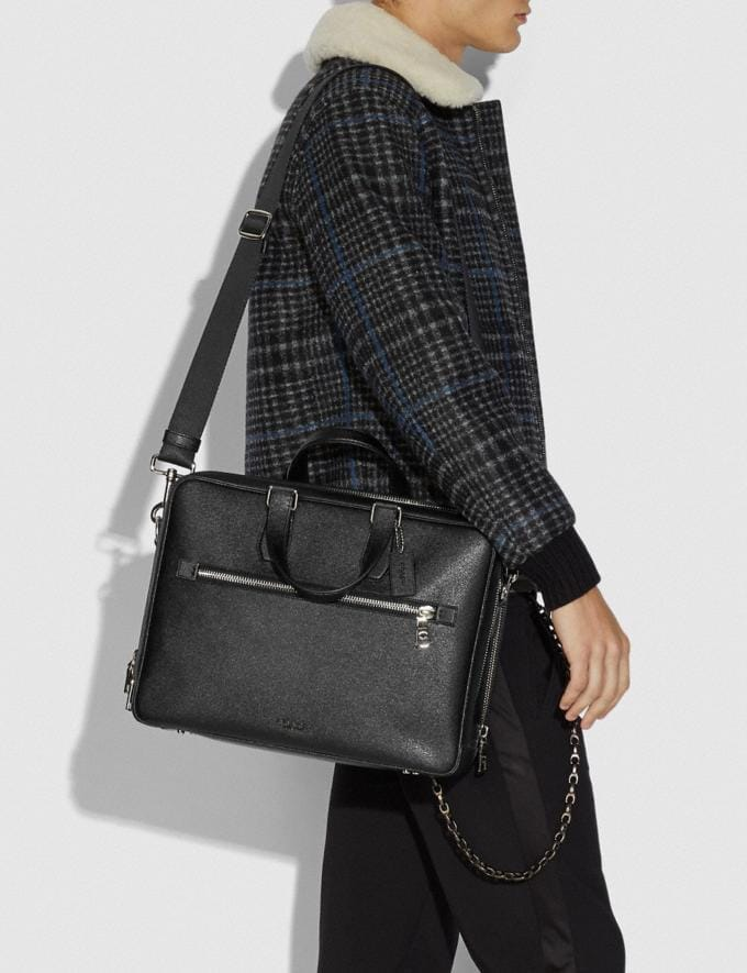 Coach Kennedy Double Zip Brief Black/Silver New Men's New Arrivals Bags Alternate View 3