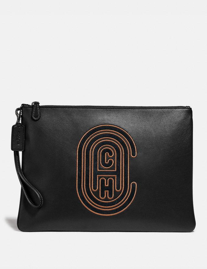 Coach Pouch 30 With Coach Patch Black Men Bags Pouches