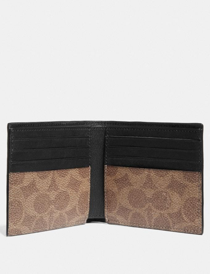 Coach Double Billfold Wallet With Signature Canvas Blocking and Coach Patch Khaki Men Wallets Billfolds Alternate View 1