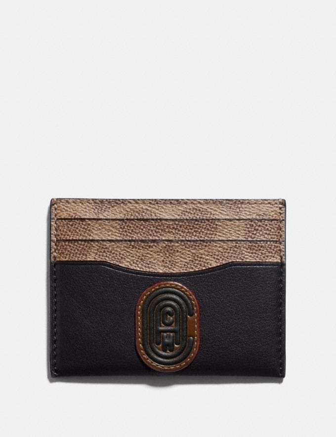 Coach Card Case With Signature Canvas Blocking and Coach Patch Black Cyber Monday Men's Cyber Monday Sale Wallets