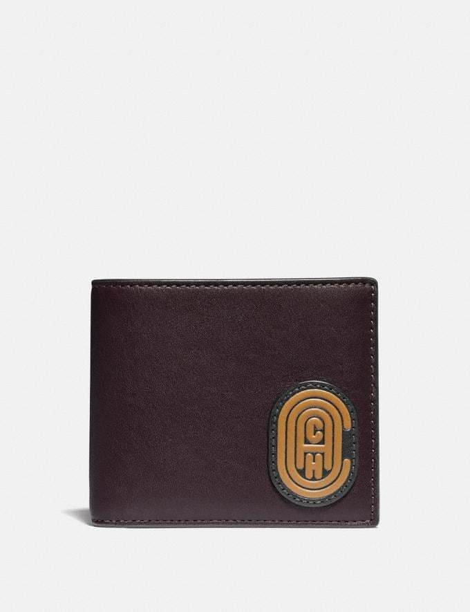 Coach Double Billfold Wallet With Coach Patch Oxblood New Men's New Arrivals Wallets