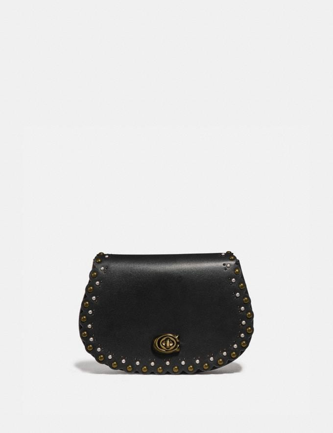 Coach Saddle Belt Bag With Scallop Rivets Black/Brass SALE Ready, Set, Holiday Event Women's