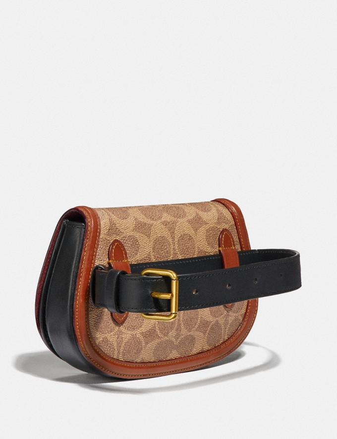 Coach Saddle Belt Bag in Colorblock Signature Canvas Tan/Rust/Brass Women Bags Belt Bags Alternate View 1