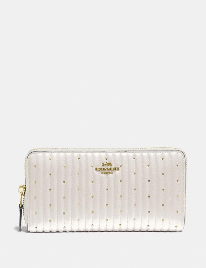 Coach Accordion Zip Wallet With Quilting and Rivets Chalk/Brass New Women's New Arrivals Wallets & Wristlets