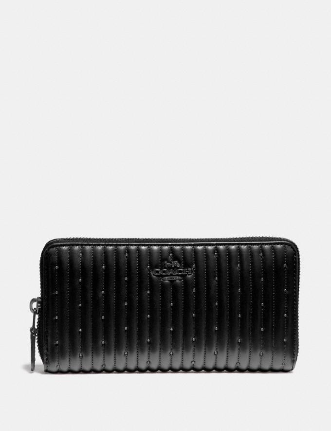 Coach Accordion Zip Wallet With Quilting and Rivets Black/Pewter SALE Ready, Set, Holiday Event Women's