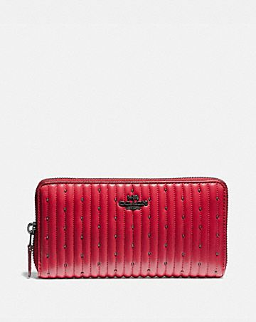 1445e8e2de9 ACCORDION ZIP WALLET WITH QUILTING AND RIVETS ...