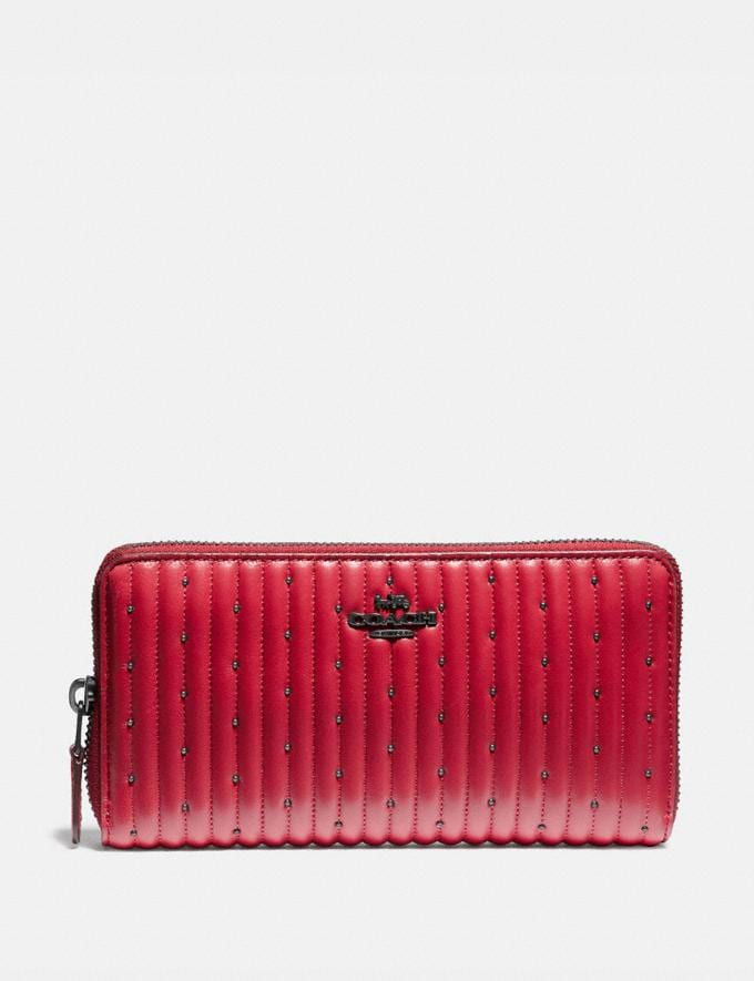 Coach Accordion Zip Wallet With Quilting and Rivets Red Apple/Pewter New Women's New Arrivals Wallets & Wristlets
