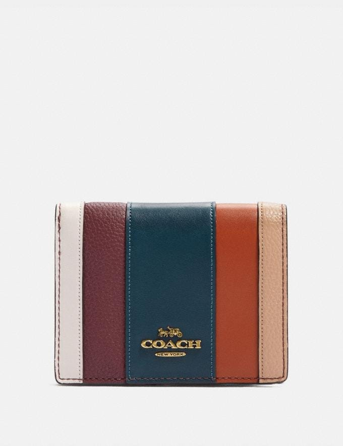 Coach Small Snap Wallet With Patchwork Stripes Oxblood Multi/Brass New Women's New Arrivals Wallets & Wristlets