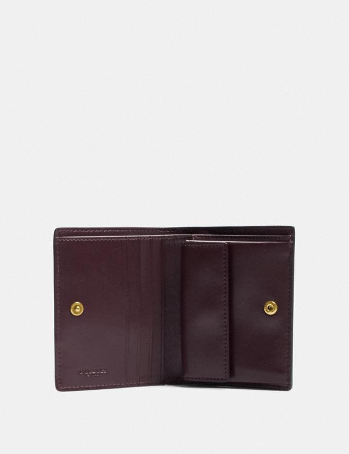 Coach Small Snap Wallet With Patchwork Stripes Oxblood Multi/Brass Women Small Leather Goods Small Wallets Alternate View 1