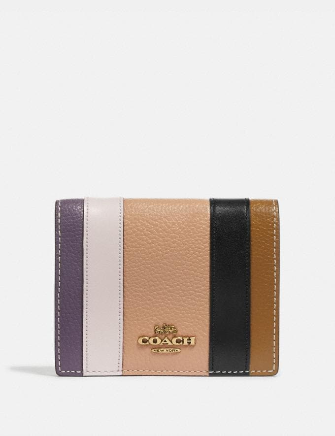 Coach Small Snap Wallet With Patchwork Stripes Beechwood/Multi/Brass Women Accessories Tech & Work