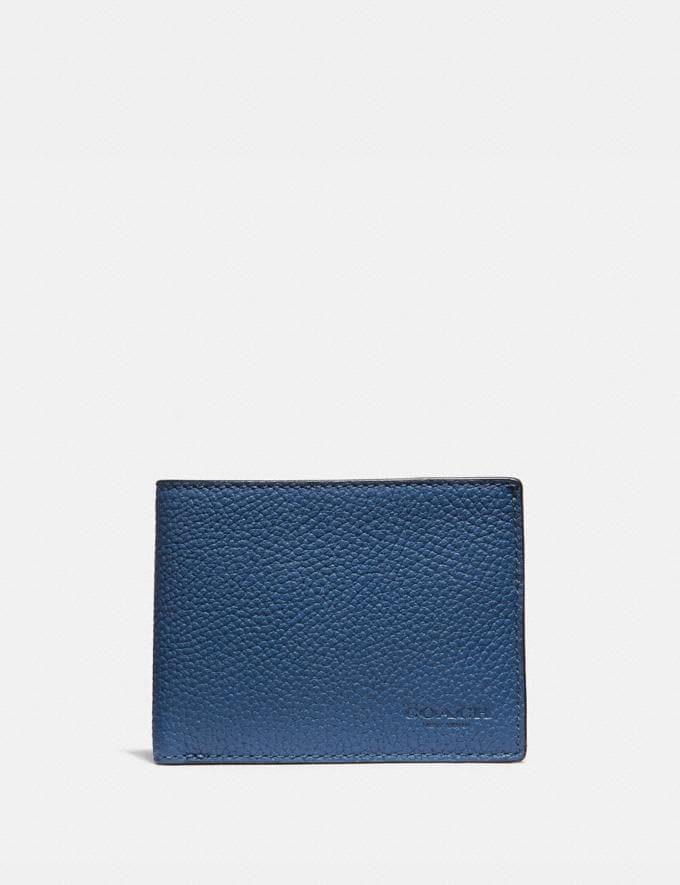 Coach Slim Billfold Wallet in Colorblock True Blue Men Edits Work