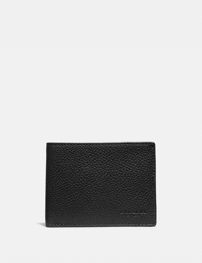 Coach Slim Billfold Wallet in Colorblock Black/Dark Honey New Men's New Arrivals