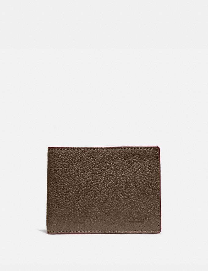 Coach Slim Billfold Wallet in Colorblock Black/Dark Honey New Men's New Arrivals Wallets