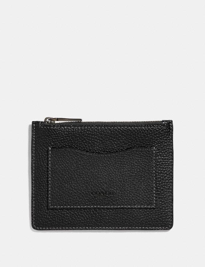 Coach Large Card Case Black/Dark Honey Men Wallets Card Cases