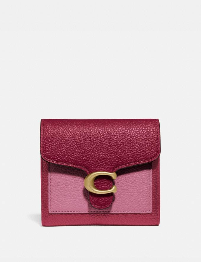 Coach Tabby Small Wallet in Colorblock Brass/Deep Red Multi