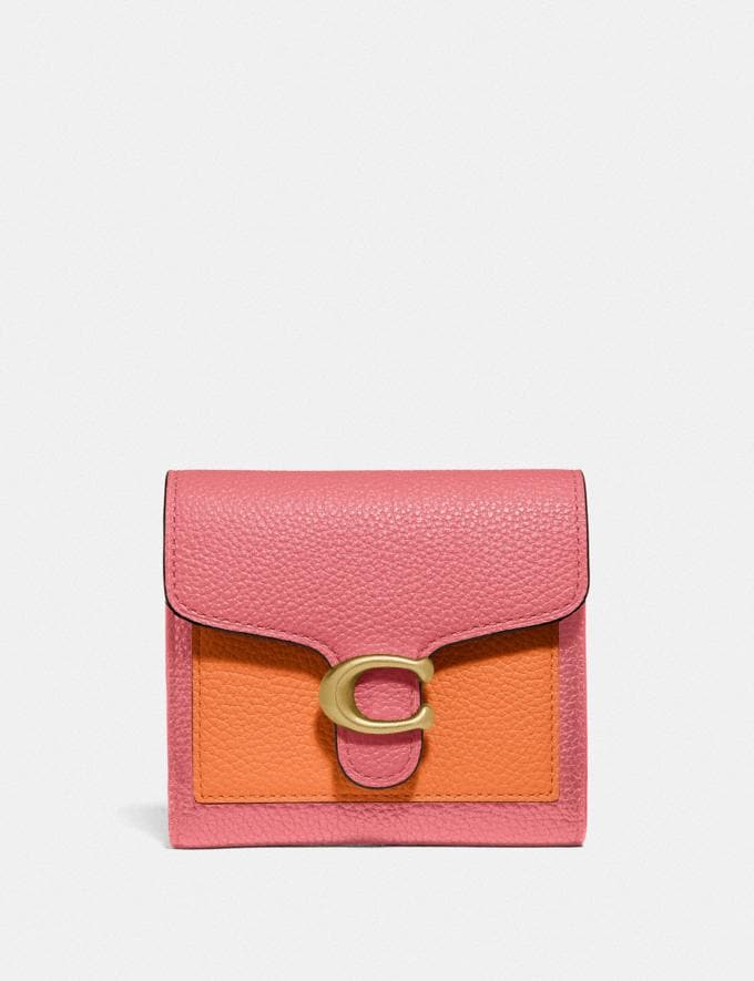 Coach Tabby Small Wallet in Colorblock B4/Taffy Orange Multi New Women's New Arrivals Small Leather Goods